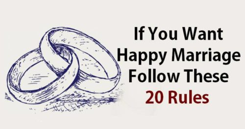 If You Want Happy Marriage Follow These 20 Rules